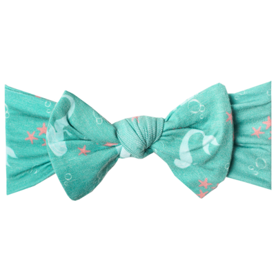 Knit Headband Bow - Coral