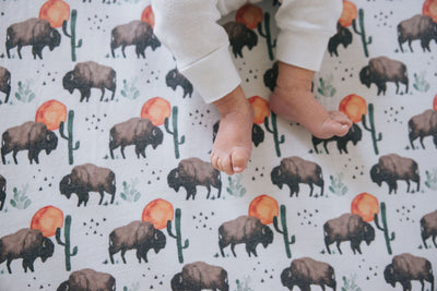 Premium Knit Fitted Crib Sheet - Bison