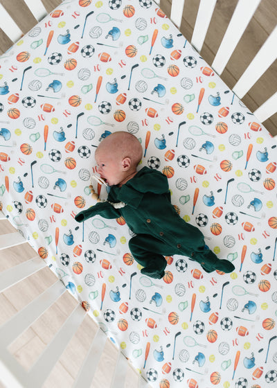 Premium Knit Fitted Crib Sheet - Varsity