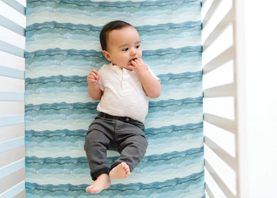 Premium Knit Fitted Crib Sheet - Waves