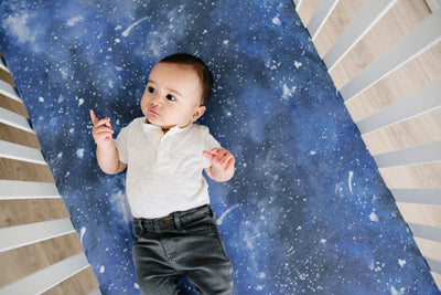 Premium Knit Fitted Crib Sheet - Galaxy