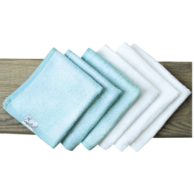 6 Ultra Soft Washcloths - Blue/White