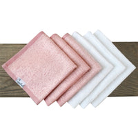 6 Ultra Soft Washcloths - Pink/White