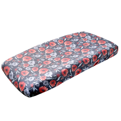 Premium Knit Diaper Changing Pad Cover - Poppy