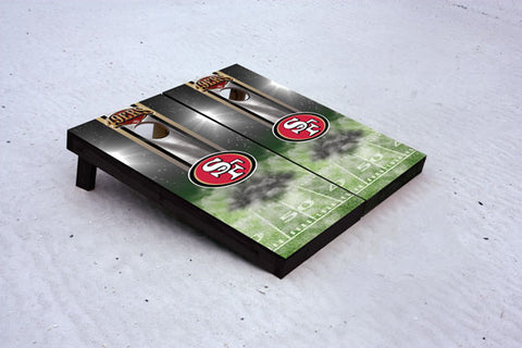 49ers football themed Custom Cornhole Border Set with 8 Cornhole Bags.