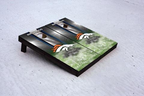 Broncos football themed Custom Cornhole Border Set with 8 Cornhole Bags.