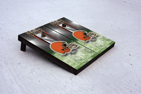 Browns football themed Custom Cornhole Border Set with 8 Cornhole Bags.
