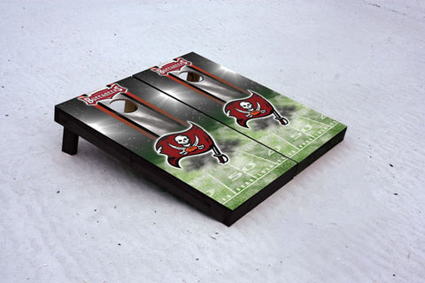 Bucs football themed Custom Cornhole Border Set with 8 Cornhole Bags.