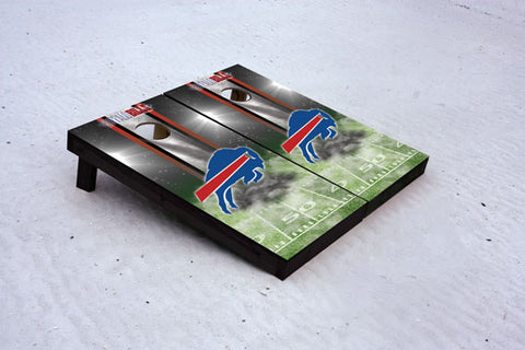 Buffalo football themed Custom Cornhole Border Set with 8 Cornhole Bags.