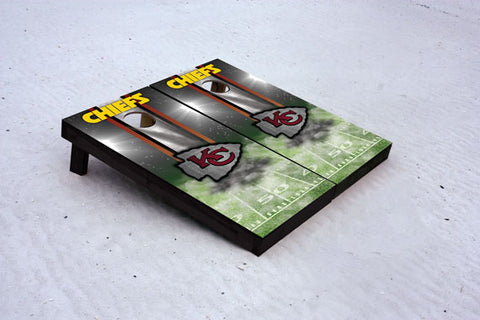 Chief football themed Custom Cornhole Border Set with 8 Cornhole Bags.