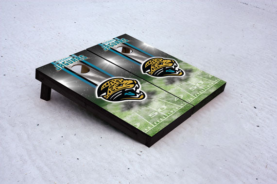 Jaguars football themed Custom Cornhole Border Set with 8 Cornhole Bags.
