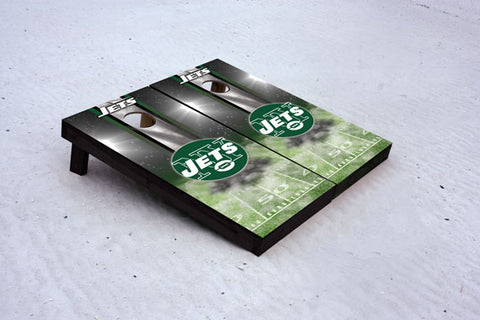 Jets football themed Custom Cornhole Border Set with 8 Cornhole Bags.
