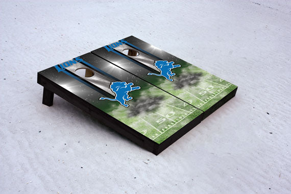 Lions football themed Custom Cornhole Border Set with 8 Cornhole Bags.