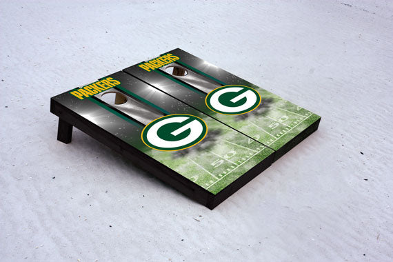 Packers football themed Custom Cornhole Border Set with 8 Cornhole Bags.