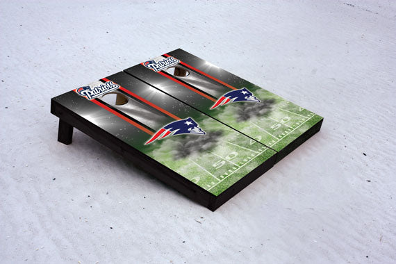 Patriots football themed Custom Cornhole Border Set with 8 Cornhole Bags.