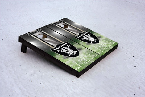 Raiders football themed Custom Cornhole Border Set with 8 Cornhole Bags.