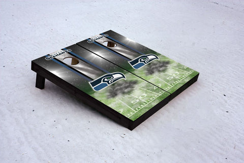 Seahawks football themed Custom Cornhole Border Set with 8 Cornhole Bags.
