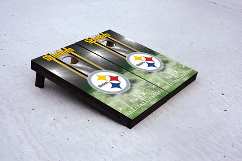 Steelers football themed Custom Cornhole Border Set with 8 Cornhole Bags.