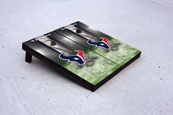 Texans football themed Custom Cornhole Border Set with 8 Cornhole Bags.