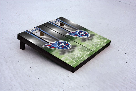 Titans football themed Custom Cornhole Border Set with 8 Cornhole Bags.