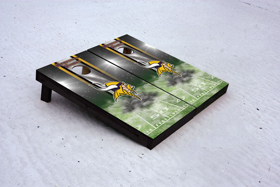 Vikings football themed Custom Cornhole Border Set with 8 Cornhole Bags.