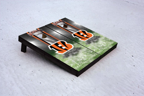 Bengals football themed Custom Cornhole Border Set with 8 Cornhole Bags.