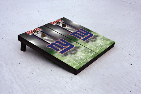 Giants football themed Custom Cornhole Border Set with 8 Cornhole Bags.