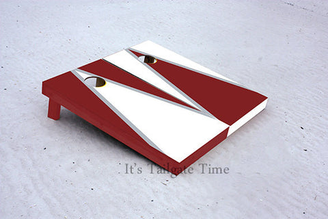 White and Crimson Alternating Triangle Custom Cornhole Boards with 8 cornhole bags