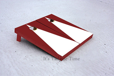 Custom Cornhole Boards White and Crimson Matching Triangle No Stripe