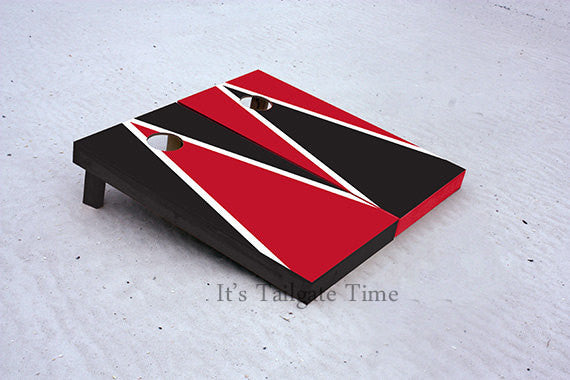 Red and Black Alternating Triangle Custom Cornhole Boards with 8 cornhole bags