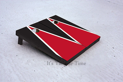 Red and Black Matching Triangle Custom Cornhole Boards with 8 cornhole bags