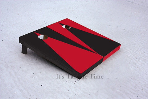 Red and Black Alternating Triangle No Stripe Custom Cornhole Boards with 8 cornhole bags