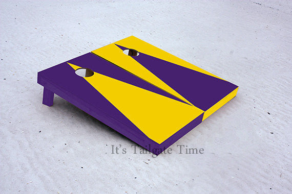 Custom Cornhole Boards Yellow and Purple Alternating Triangle No Stripe