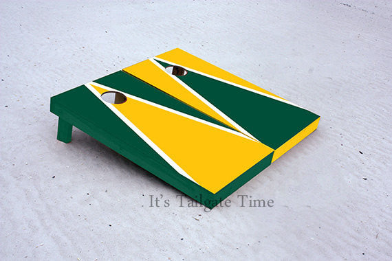Yellow and Green Alternating Triangle Custom Cornhole Boards with 8 cornhole bags