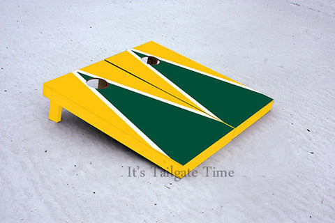 Custom Cornhole Boards Yellow and Green Matching Triangle