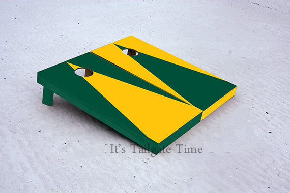 Custom Cornhole Boards Yellow and Green Alternating Triangle No Stripe