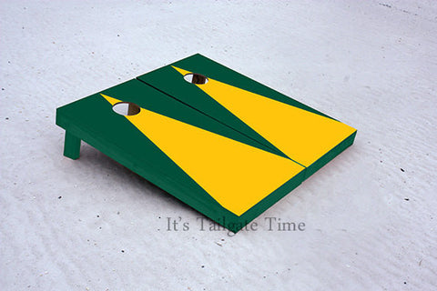 Yellow and Green Matching Triangle No Stripe Custom Cornhole Boards with 8 cornhole bags