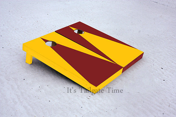 Custom Cornhole Boards Yellow and Burgandy Alternating Triangle No Stripe with 1x4 frames