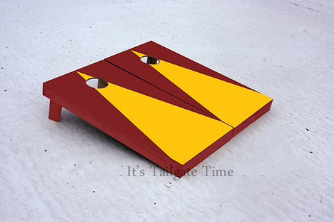 Custom Cornhole Boards Yellow and Burgandy Matching Triangle No Stripe