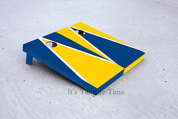 Yellow and Blue Alternating Triangle Custom Cornhole Boards with 8 cornhole bags