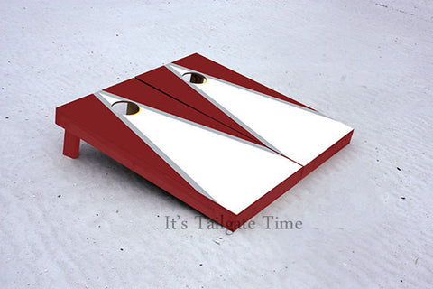 White and Crimson Matching Triangle Custom Cornhole Boards with 8 cornhole bags