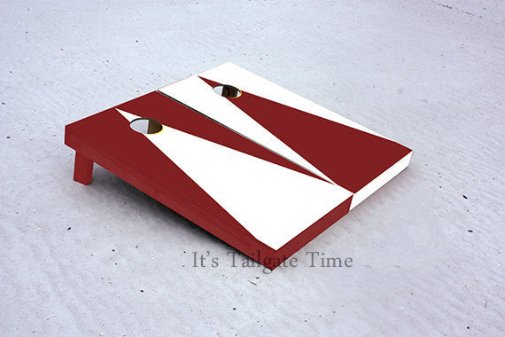 White and Crimson Alternating Triangle No Stripe Custom Cornhole Boards with 8 cornhole bags