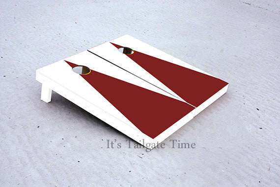 White and Crimson Matching Triangle No Stripe Custom Cornhole Boards with 8 cornhole bags