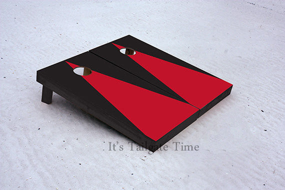 Custom Cornhole Boards Red and Black Matching Triangle No Stripe