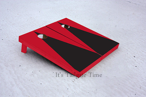 Red and Black Matching Triangle No Stripe Custom Cornhole Boards with 8 cornhole bags