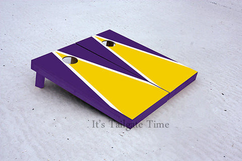 Gold and Purple Matching Triangle Custom Cornhole Boards with 8 cornhole bags