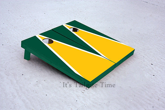 Yellow and Green Matching Triangle Custom Cornhole Boards with 8 cornhole bags