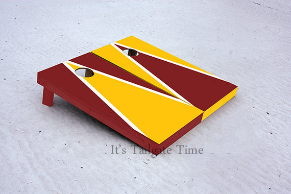 Yellow and Burgandy Alternating Triangle Custom Cornhole Boards with 8 cornhole bags