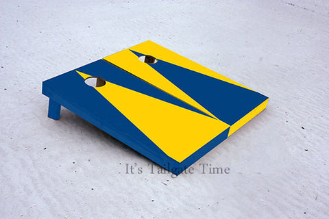 Yellow and Blue Alternating Triangle No Stripe Custom Cornhole Boards with 8 cornhole bags
