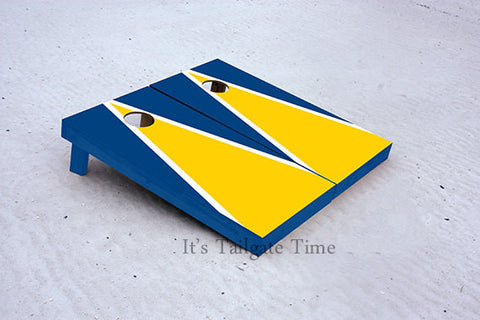 Yellow and Blue Matching Triangle Custom Cornhole Boards with 8 cornhole bags